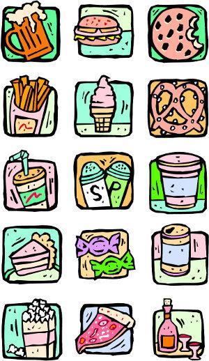εικονίδια που απεικονίζουν ανθυγιεινά τρόφιμα