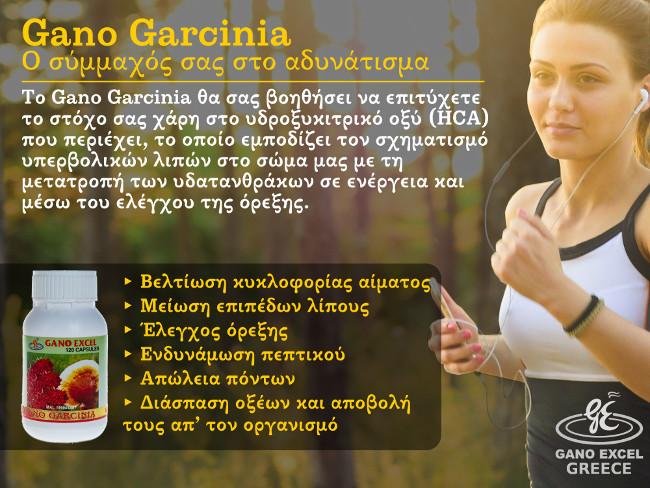 Το Gano Garcinia θα σας βοηθήσει να επιτύχετε το στόχο σας χάρη στο υδροξυκιτρικό οξύ (HCA) που περιέχειμ το οποίο εμποδίζει τον σχηματισμό υπερβολικών λιπών στο σώμα μας με τη μετατροπή των υδατανθράκων σε ενέργεια και μέσω του ελέγχου της όρεξης.